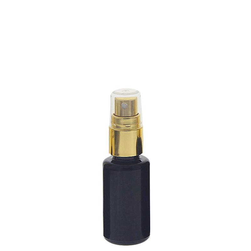 Violettglas Sprühflasche, stark lichtschützend, Lila Miron Glas-Flasche mit gold. Pumpzerstäuber, Flakon Kosmetex 20 ml