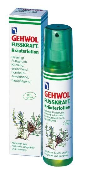 GEHWOL Kräuterlotion, Fussdeo mit Urea Fussdeospray, kühlend, Fusskraft, 150 ml