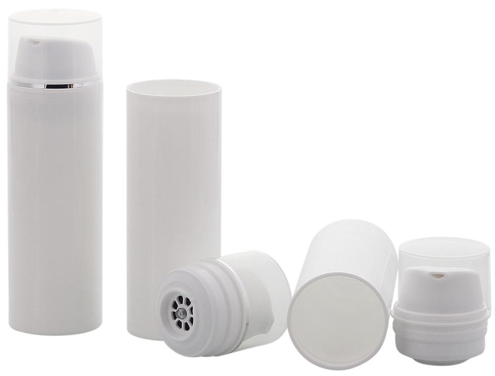 Kosmetex Airless Pumpspender 30ml oder 50ml, Silberstreifen Cremespender, Lotion und Gelspender zum selbst Befüllen