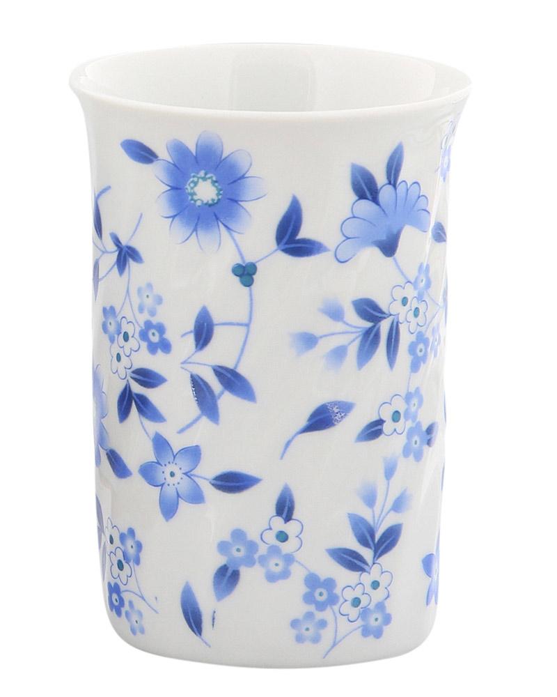Zahnputz-Becher aus Porzellan Blaue Blume, Kosmetex Bad Accessoires Mundbecher