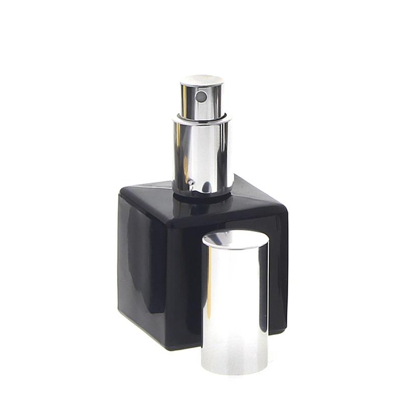 Schwarzer Glas-Flakon mit silbernem Zerstäuber, 50ml Kosmetex Glas Parfüm-Zerstäuber, leer silber