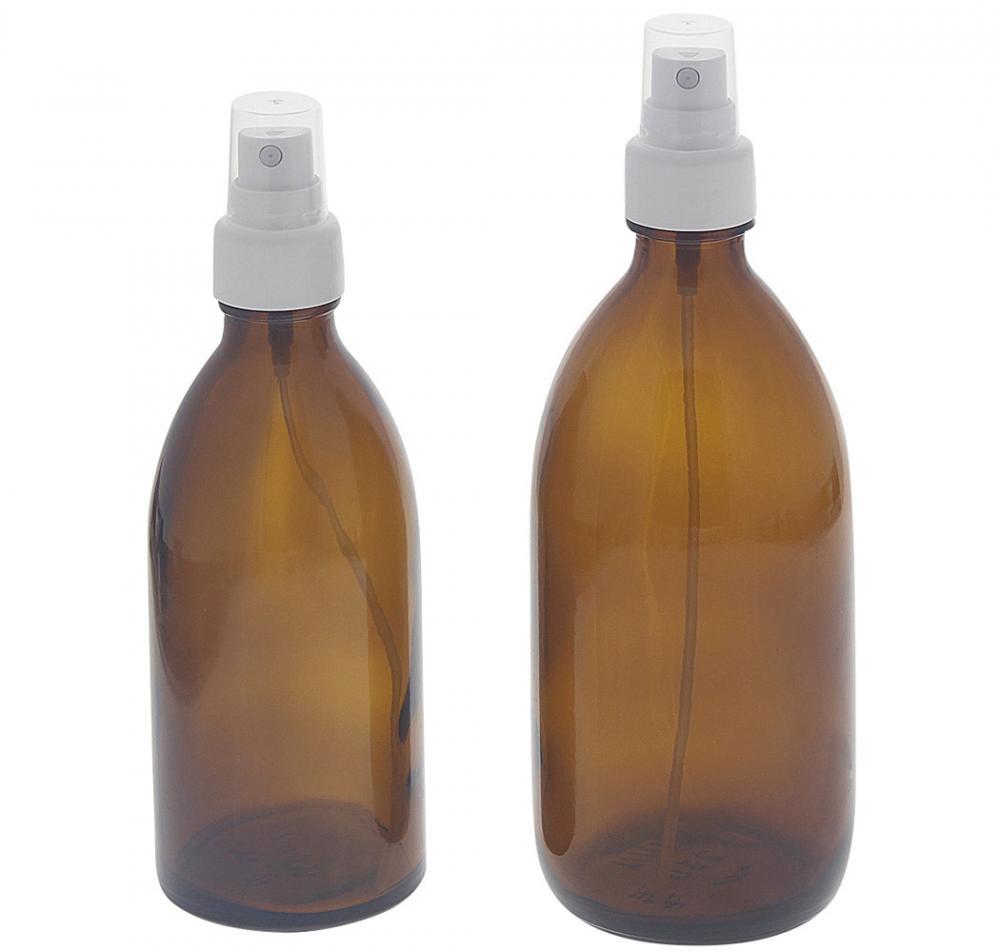 Braunglas-Flasche mit Zerstäuber Kosmetex Glas Sprüh-Flasche, Veralflasche, Enghalsflasche