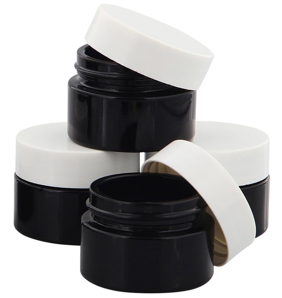 Violett Glas-Tiegel m. Deckel, 15 ml Kosmetex Kosmetik-Tiegel, Salbentiegel, Cremedose 4× weiß