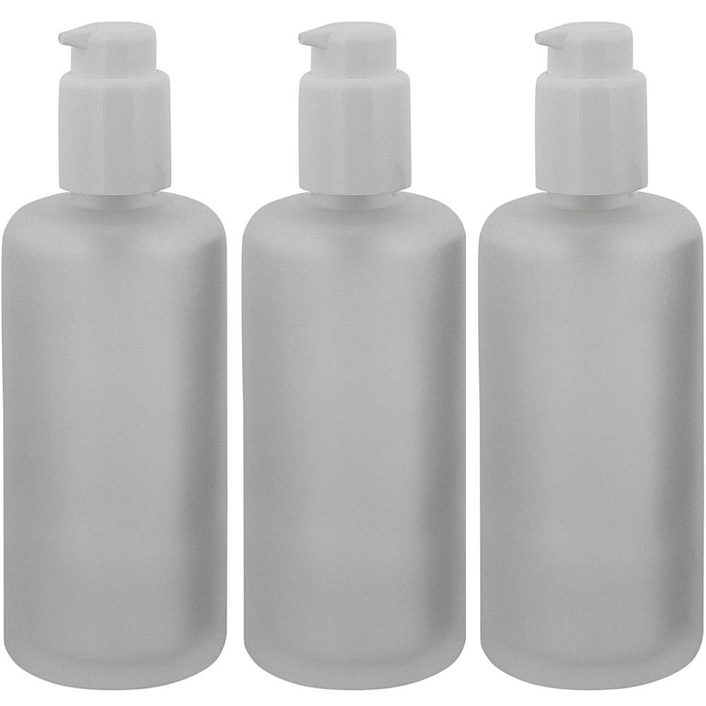 Mattglas, Gel-Spender Flasche, m. weißer Lotionspender, 200 ml Kosmetex Glas-Flasche, Flakon, leer 3× 200 ml Mattglas