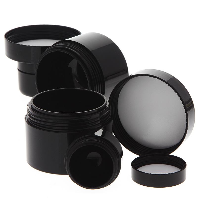 Creme-Dose für Pflege, doppelwandiger leerer Creme-Tiegel, schwarz, 50 ml 50 ml