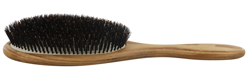 Haarbürste Natural Kosmetex, 100% Wildschwein-Borste Bürste und Griff aus Holz, Groß 24.5 x 8 cm