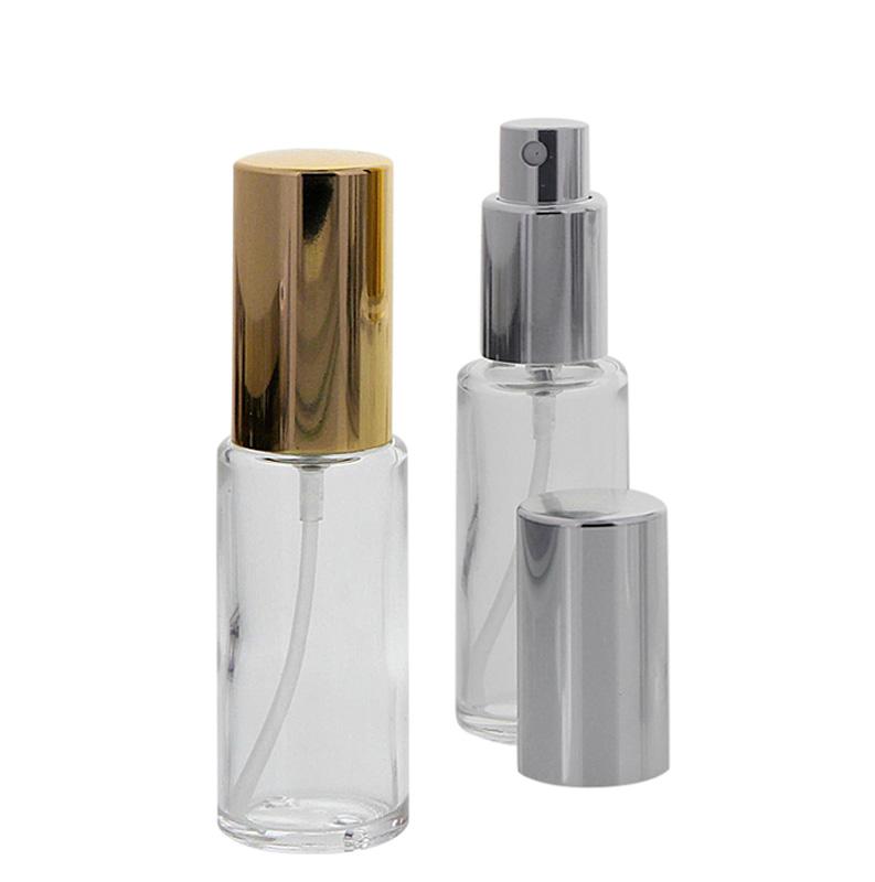 Runder Klarglas Kosmetex 20ml Flakon mit silber. und gold. Zerstäuber, 2er Set