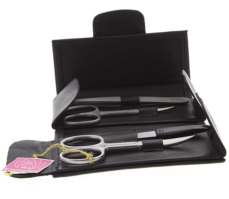 Maniküre Set, 4 tlg. Etui für Nagelpflege aus Leder mit feinsten Solinger Instrumenten.