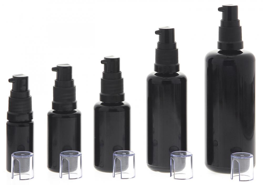 Gelspender aus Violettglas, kleine Glasflasche, Kosmetex schwarzer Gel-Pumper für lichtempfindliche Lotionen, Gele