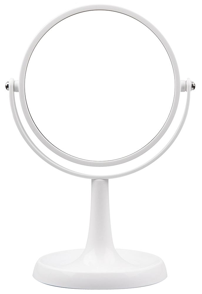 Kosmetex Großer Stand-Spiegel mit 5-fach Vergrößerung, 2 Spiegelflächen, 28cm Ø 15cm, Kosmetik-Spiegel drehbar