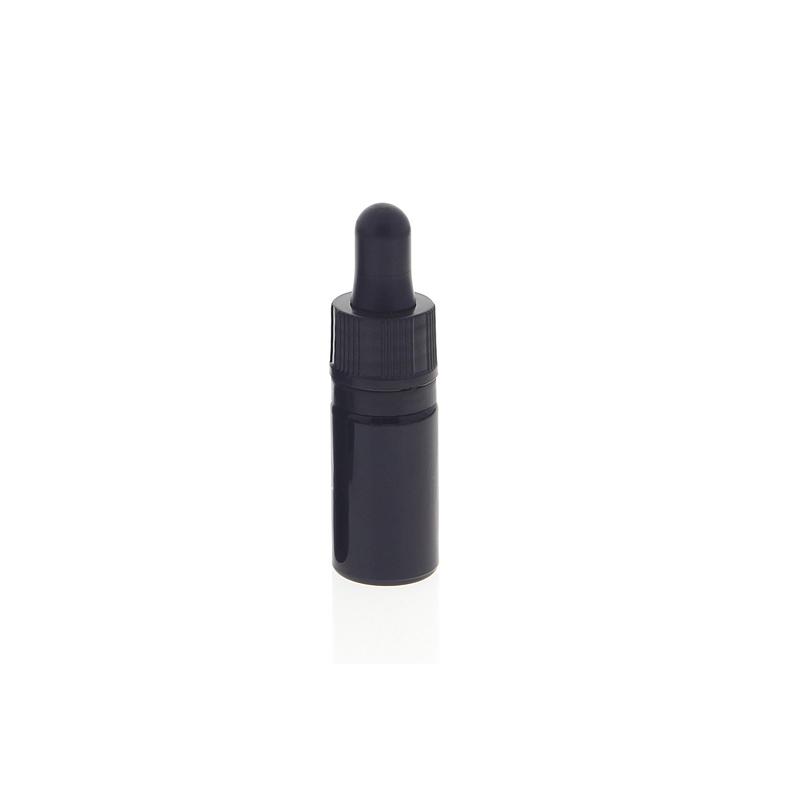 Kosmetex Violettglasflasche mit Pipette, leere violett Glas-flasche, Pipettenflasche nur 7 cm hoch 5 ml