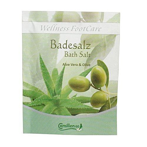 Badesalz Aloe, Olive, Camillen 60, Fussbad Wellness Foot Care mit Aloe Vera und Olivenöl, 40 g