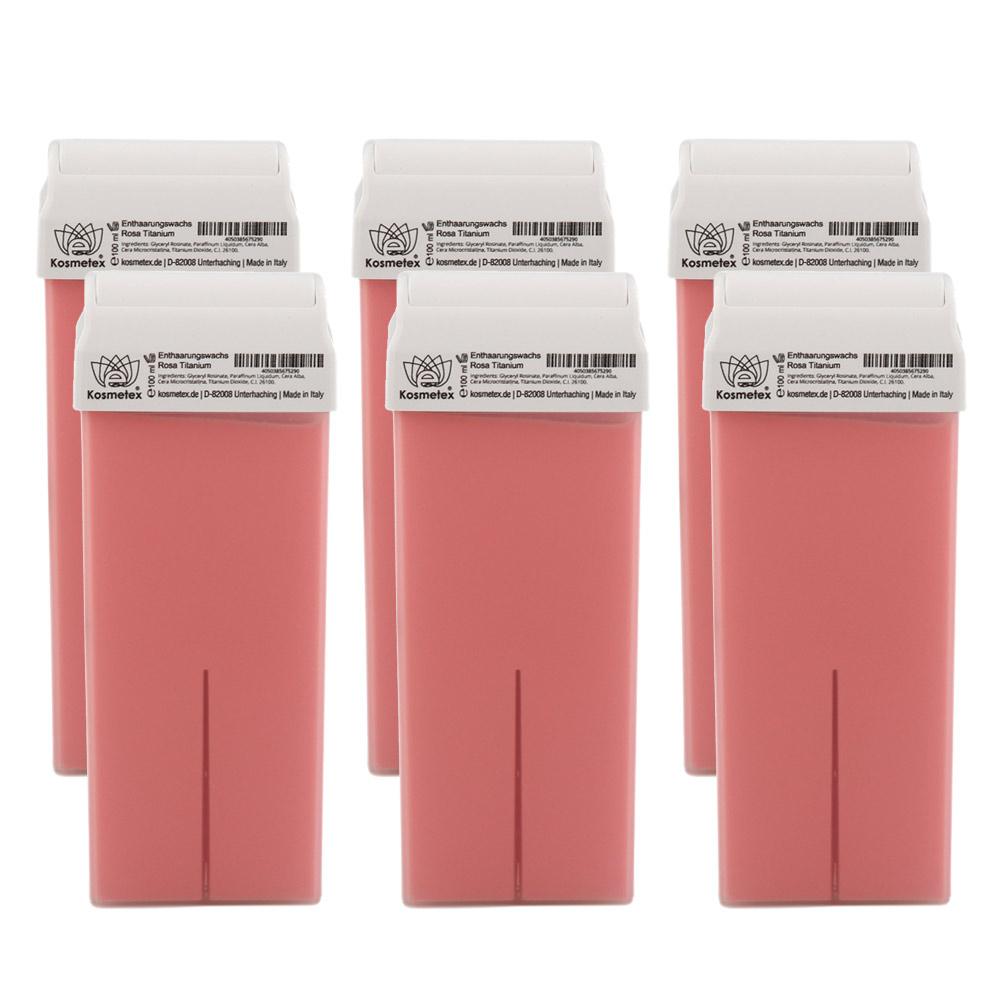 Kosmetex Wachspatrone Rosa, Enthaarungswachs, Heißwachs, Warmwachspatronen, Körperpflege Haarentfernung, Breit, 100ml 6 Stück