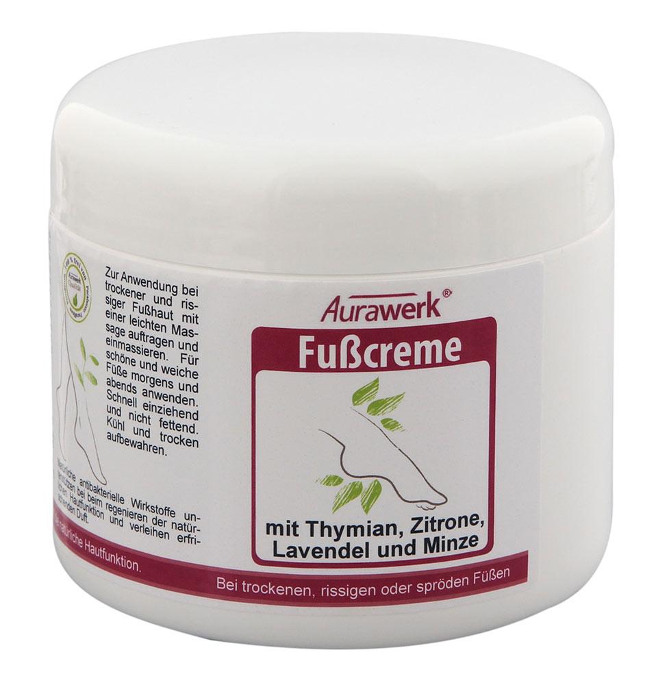 Aurawerk Fußcreme 500ml mit Thymian, Zitrone, Lavendel und Minze bei rissigen, spröden Füßen 500 ml