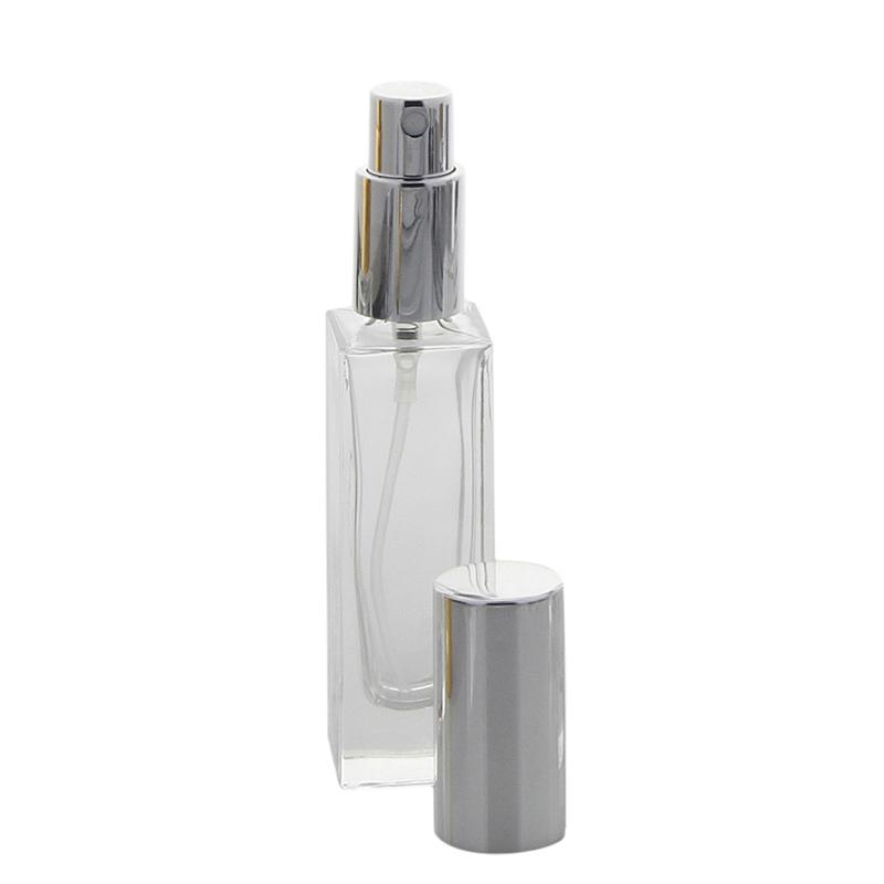 Glas-Flakon Parfüm-Zerstäuber, 30ml Kosmetex Gerade Linie, für Colognes, leer Silber