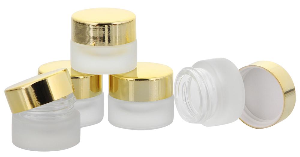 Matt Glastiegel 15ml m. gold Kunststoff-Deckel, Leerer Tiegel, Kosmetex Glasdose 5× gold