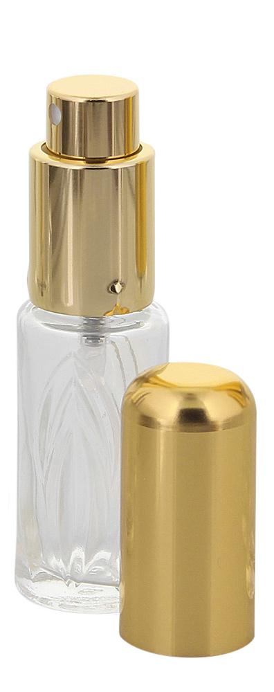 Runder Flakon, Parfum-Zerstäuber, Pumpzerstäuber, Blatt-Muster Kosmetex Sprüh-Flasche, leer, 10 ml 1 x gold