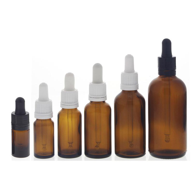 Braunglasflasche mit Pipette, leere braune Kosmetex Glasflasche, Pipettenflasche mit kompletter Pipettenmontur.