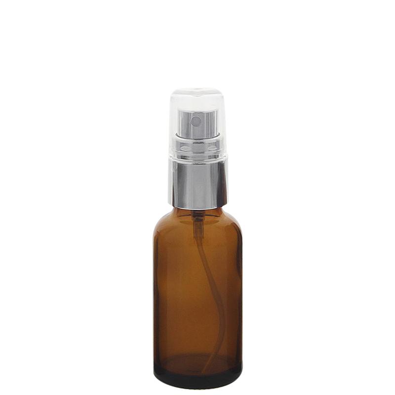 Braunglas Zerstäuberflasche mit silber. Pumpzerstäuber. Kosmetex Parfümflakon 30 ml