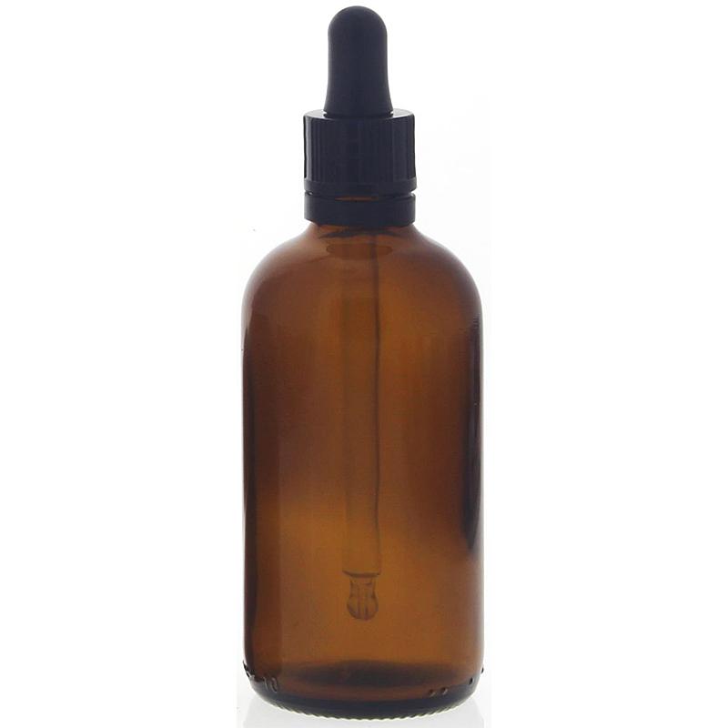 Braunglasflasche mit Pipette, leere braune Kosmetex Glasflasche, Pipettenflasche mit kompletter Pipettenmontur. 100 ml