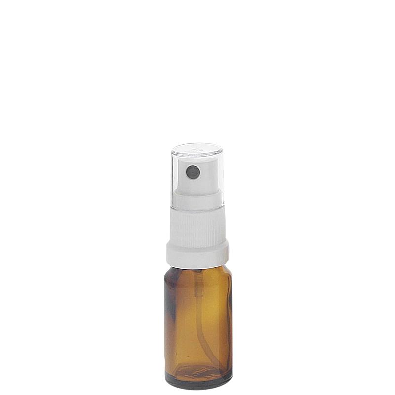 Braunglas Zerstäuberflasche mit weißem Pumpzerstäuber. Kosmetex Parfümflakon 10 ml