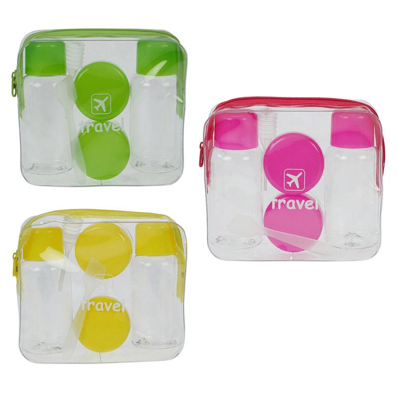 Travel-Set Kosmetex mit Flaschen, Dosen für Flüssigkeiten und Cremes im Handgepäck, Flugzeug, Reise-Set, 7-teilig