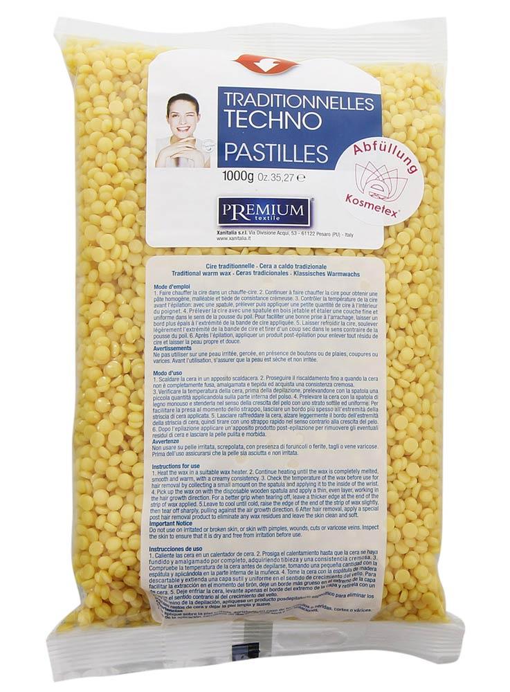Kosmetex Premium Techno Wachs-Perlen Argan für professionelles Waxing ohne Vliesstreife, 1000ml