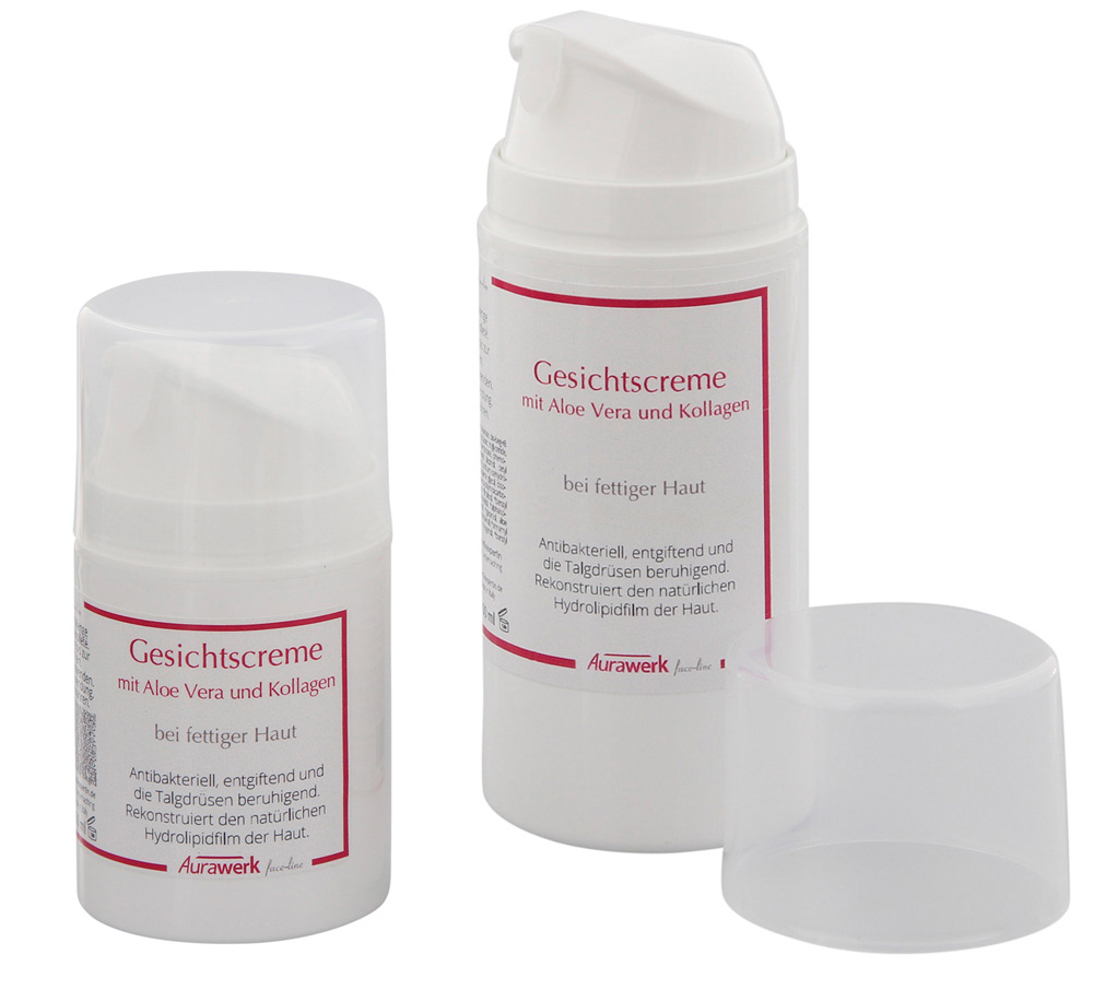 Aurawerk Gesichtscreme 100ml bei öllig fettiger Haut mit Aloe Vera und Kollagen, fat oily Skin Cream