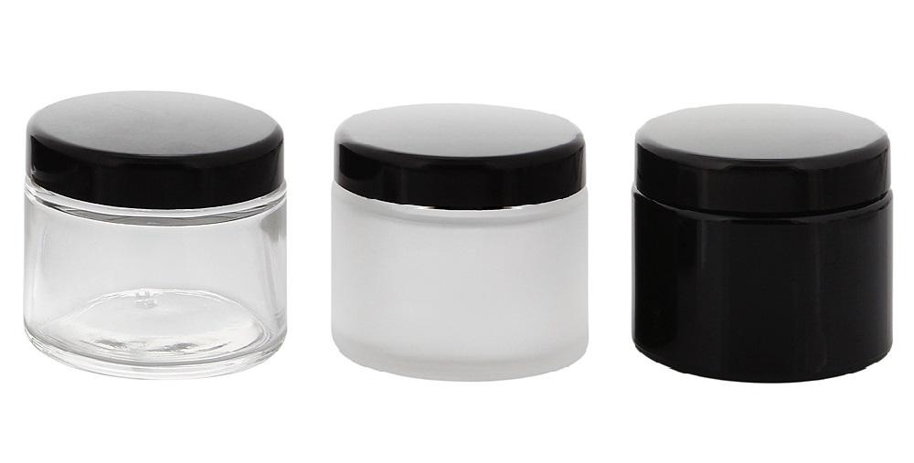 Glas-Tiegel 100 ml, schwarzer Deckel, Leere Kosmetex Glas Creme-Dose, Kosmetik-Dose