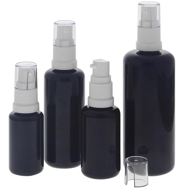 Gel-Spender aus Violett-Glas, Kosmetex Flasche mit Gelpumper für lichtempfindliche Lotionen, Gele 4er-Set