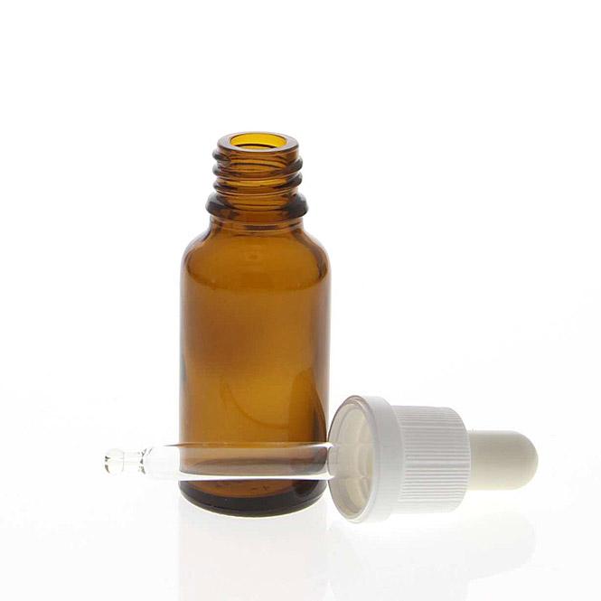 Braunglasflasche mit Pipette. Leere Glasflasche, Kosmetex Pipettenflasche mit kompletter Pipettenmontur. 10 ml