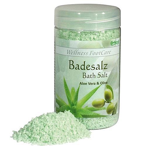 Badesalz Aloe, Olive, Camillen 60, Fussbad Wellness Foot Care mit Aloe Vera und Olivenöl, 350 g