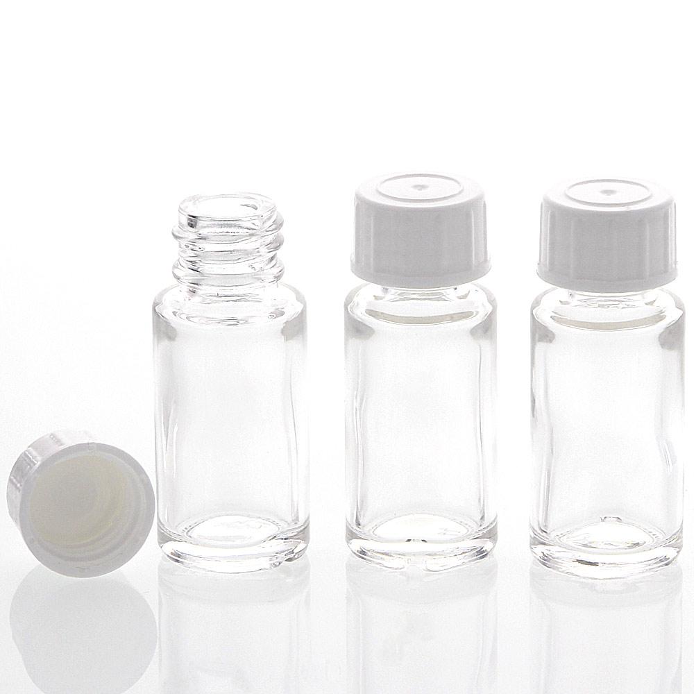 Klar-Glasflasche 10ml, leere Flasche mit Schraubverschluss, Flasche zum Selbst Befüllen, nur 6 cm hoch, Kosmetex 3 Stück
