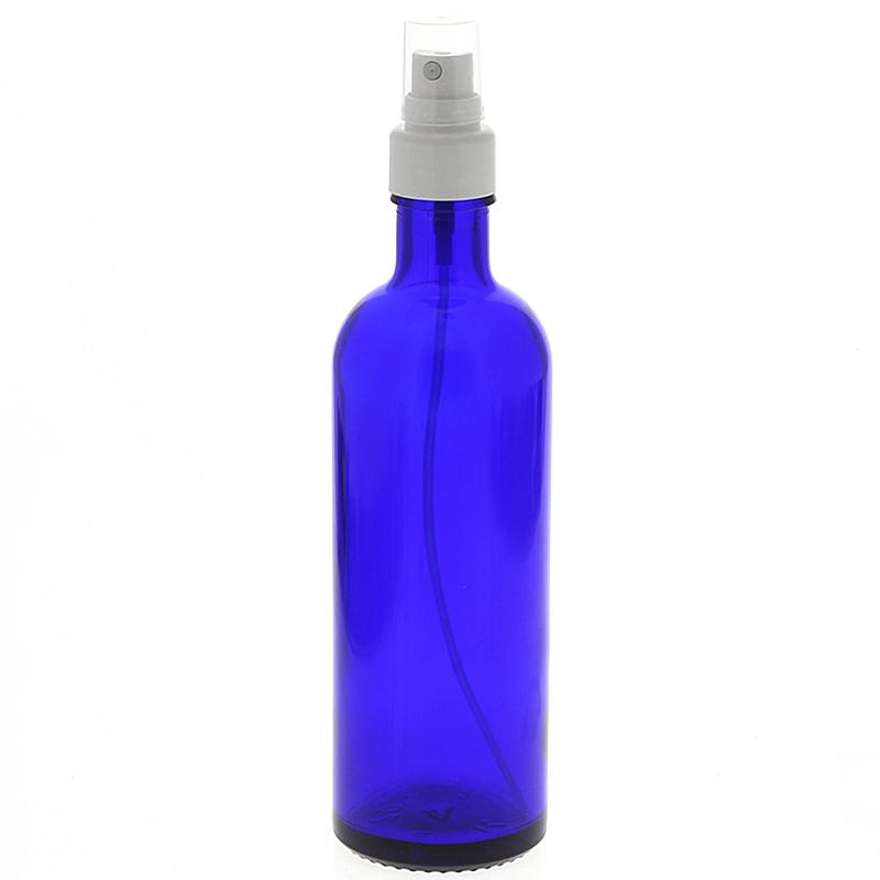 Blauer Glas Flakon, Blauglasflasche mit Zerstäuber, Kosmetex Sprühflasche, Glasflasche 200 ml