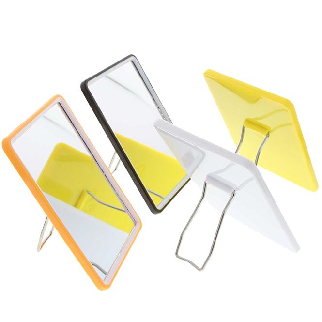 Eckiger kleiner Stellspiegel, Kosmetex Spiegel zum Stellen oder Hängen, verschiedene Farben Weiß