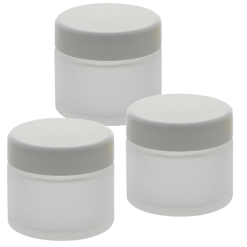 Matt Glas-Tiegel 50ml mit Deckel Weiß, Leere Kosmetex Glas Creme-Dose, Kosmetik-Dose aus Mattglas Matt - Weiß   3 Stück
