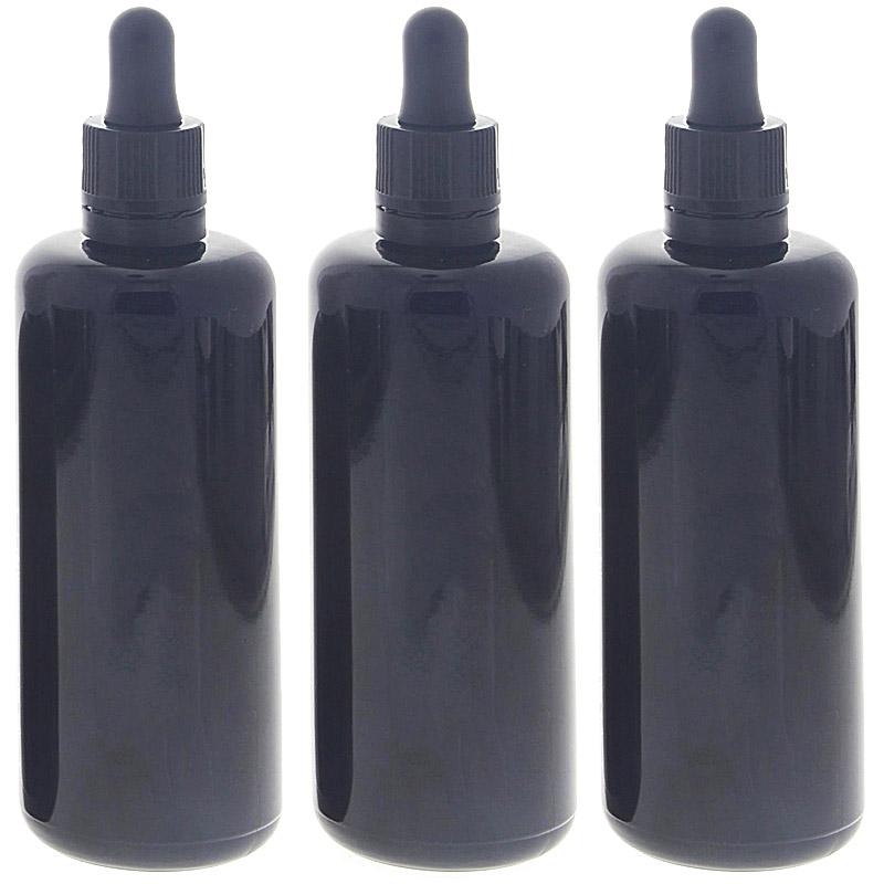 Violettglas-Flasche Miron mit Pipette, leere violett Glas-Flasche, Kosmetex Pipettenflasche mit Pipettenmontur. 3x 100ml