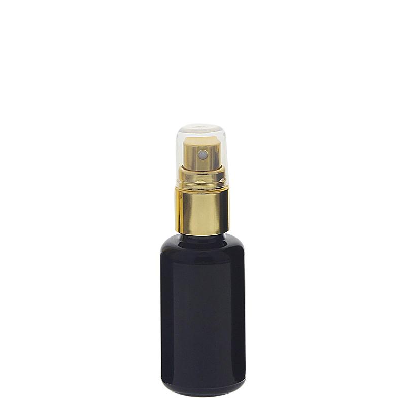 Violettglas Miron Sprühflasche, stark lichtschützend, Glas-Flasche mit gold. Pumpzerstäuber, Flakon Kosmetex 30 ml
