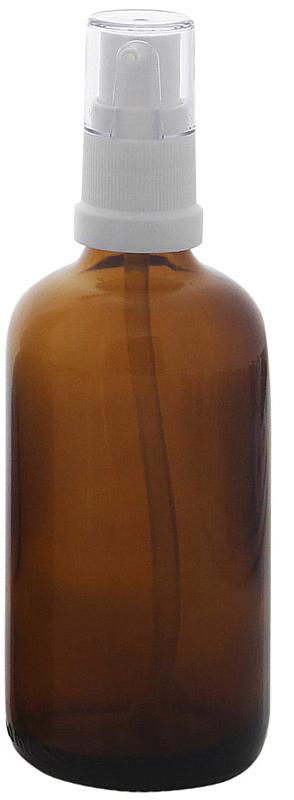 Gelspender aus Braunglas, Kosmetex Gelspumper für lichtempfindliche Lotionen, Gele 100 ml