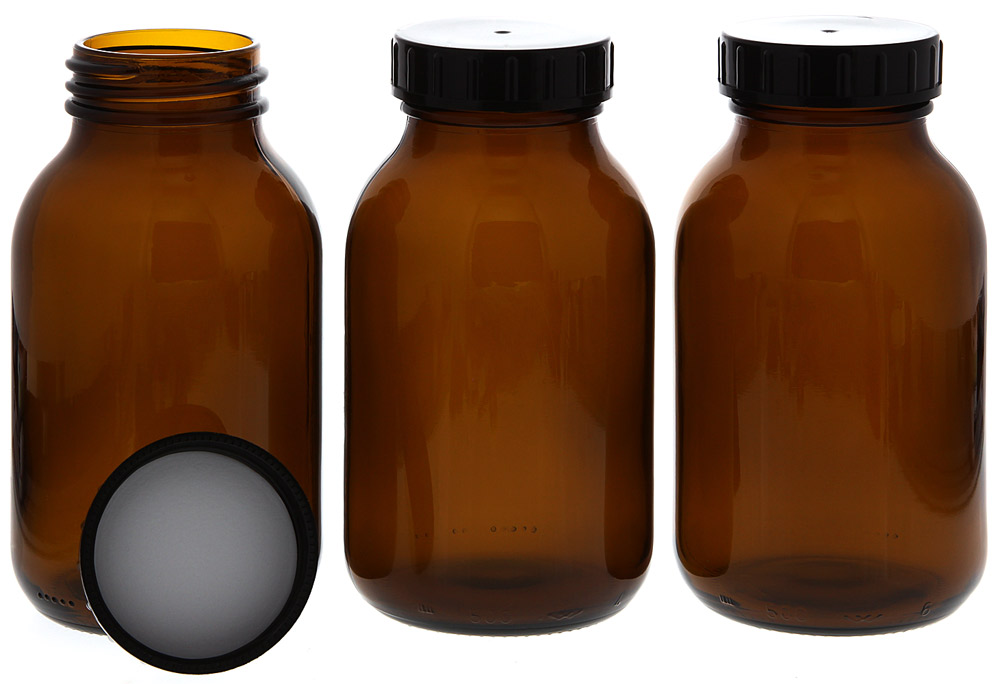 Weithalsflasche, Braunglasflasche m. Kunststoff-Deckel, leer Kosmetex Glasdose, Flasche, 500 ml 3 x 500ml