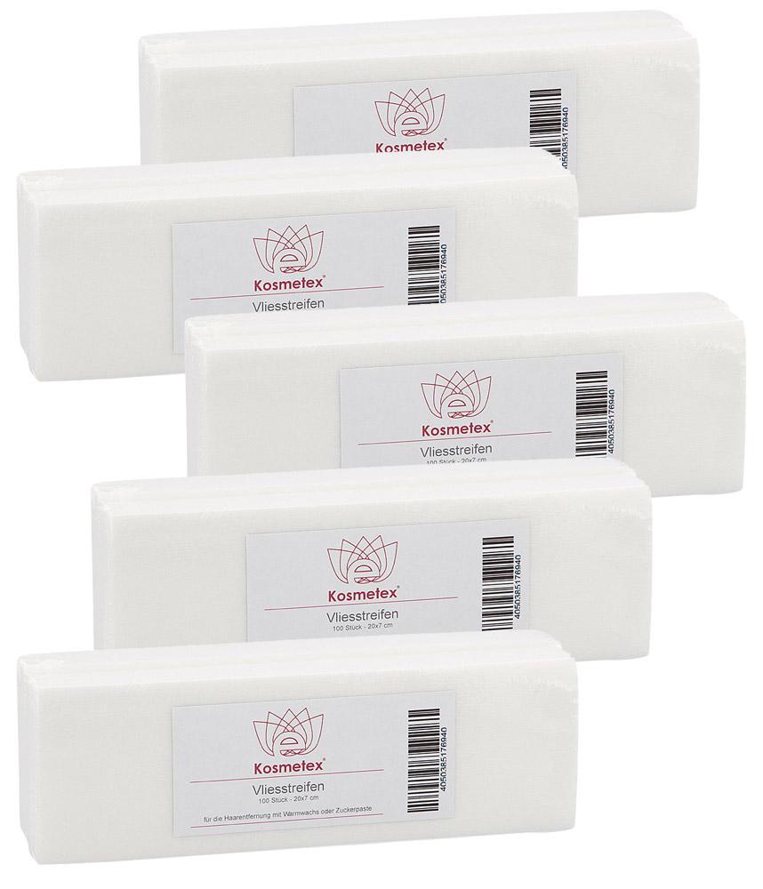 Kosmetex Vliesstreifen 500 Stück für Wachs, Vlies-Streifen 20cm für die Haarentfernung mit Warmwachs und Zuckerpaste 500 Stück