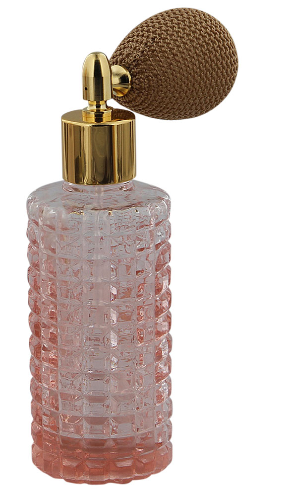 Rose Glas Flakon 30 ml Parfüm-Zerstäuber, leer mit Ballpumpe Farbe Gold, rosa, Kosmetex