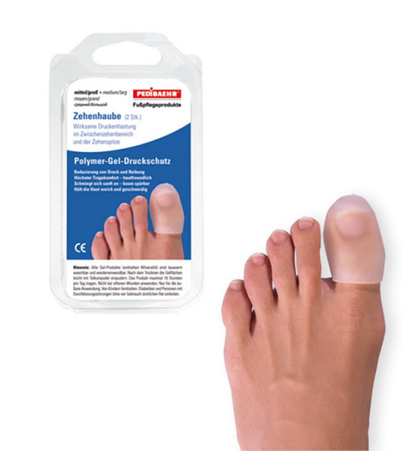 PediBaehr Polymer Gel Zehenhaube, Druckschutz, Zehenkappe für die Fuß Zehen, groß, 2 Stück