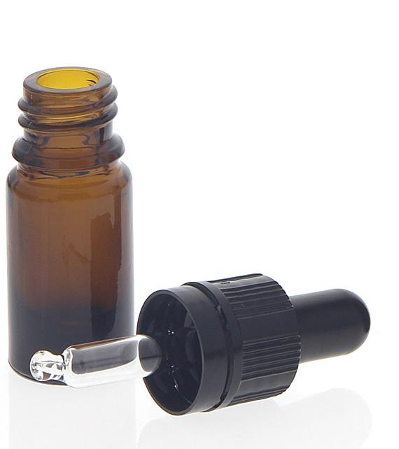 Kosmetex Braunglasflasche mit Pipette, leere braune 5ml-Glasflasche, Pipettenflasche nur 7 cm hoch