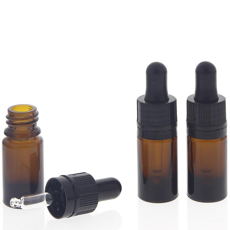 Kosmetex Braunglasflasche mit Pipette, 5ml leere braune Glasflasche, Pipettenflasche nur 7cm hoch 3× 5 ml