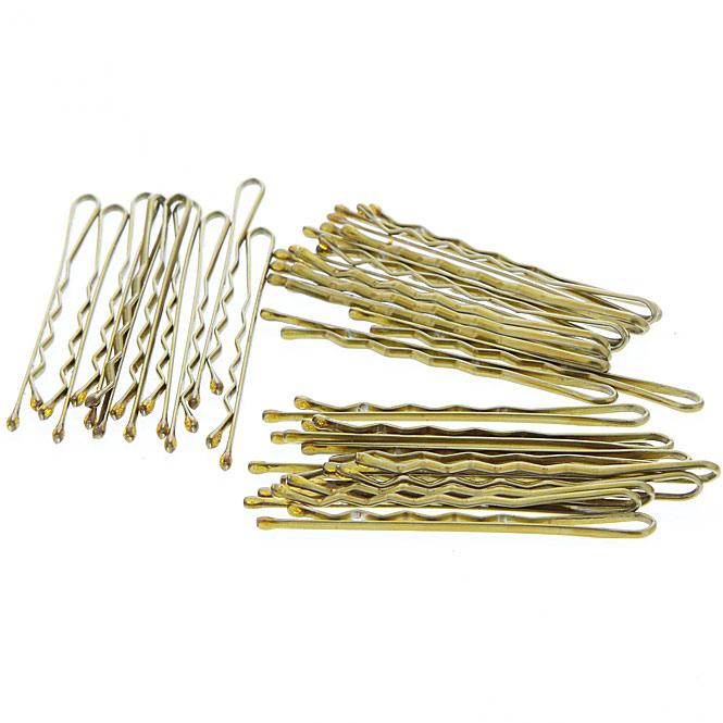 Haarklemmen, gewellt mit runden Ecken Haarklammern (mit Wellen) 5cm Bronze
