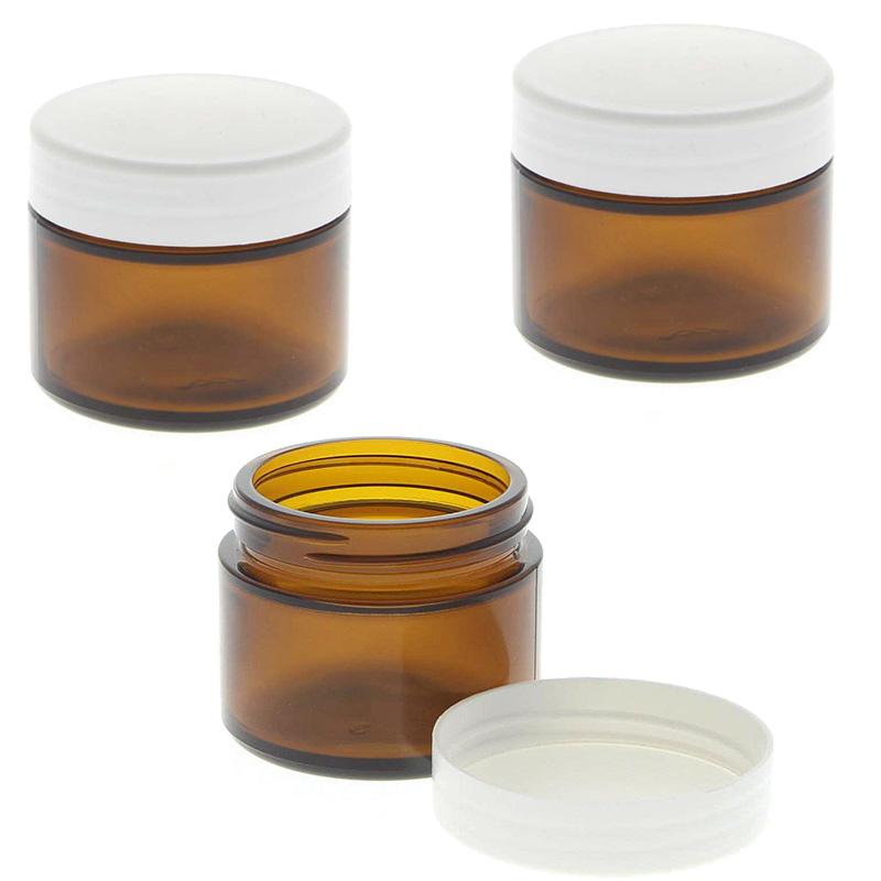 Braunglastiegel mit Kunststoff Deckel 50ml Leerer Tiegel, Kosmetex Glasdose, Salbentiegel aus Braunglas 3 Stück