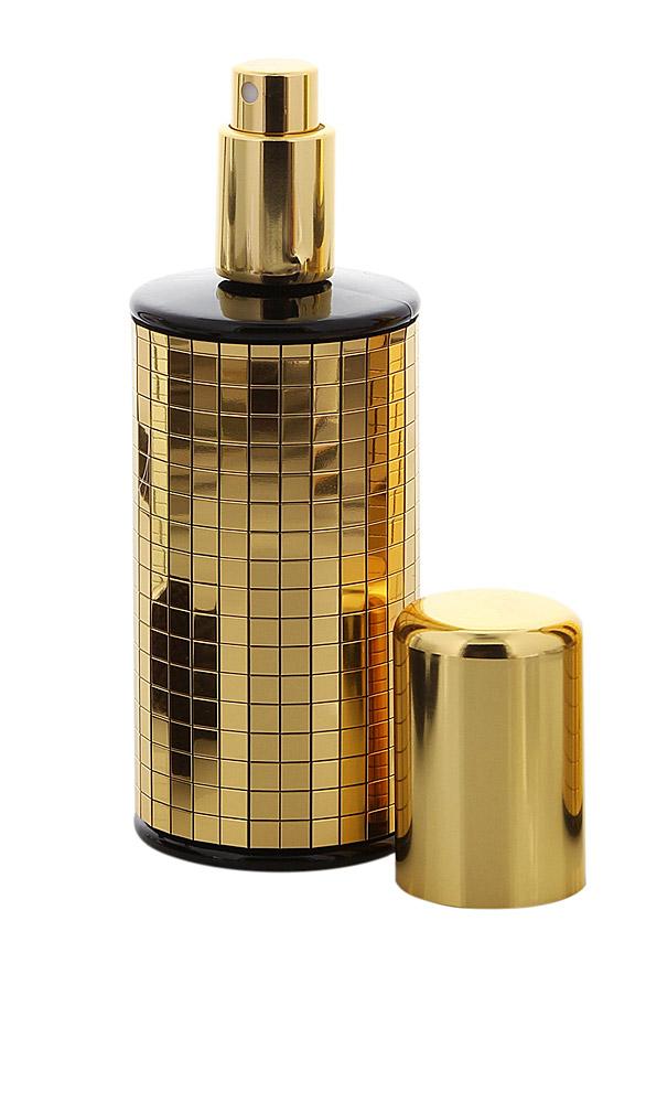 Runder Glas-Zerstäuber Gold Diva m. Pailletten Spiegeln, Großer Kappe, Kosmetex Parfüm-Flakon, 100 ml Parfümzerstäuber