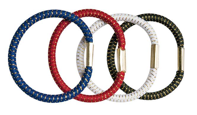 Haargummi Set, 4 Stck., groß, breit 4 div. Farben für viele Frisuren. Farbmix mit Goldfaden