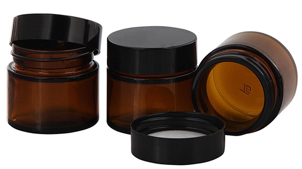 Braunglastiegel m. Kunststoff-Deckel, 30 ml Leerer Tiegel, Kosmetex Glasdose 3× schwarz